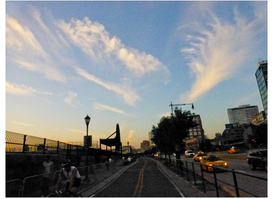 Sky, Citibike NYC, Manhattan biking, west side highway, NYC © Jon Heinrich photography
