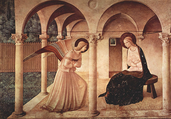 Fra Angelico's The Annunciation (c. 1438): Virgin Mary meets the Angel Gabriel to be told she will give birth to Jesus Christ.