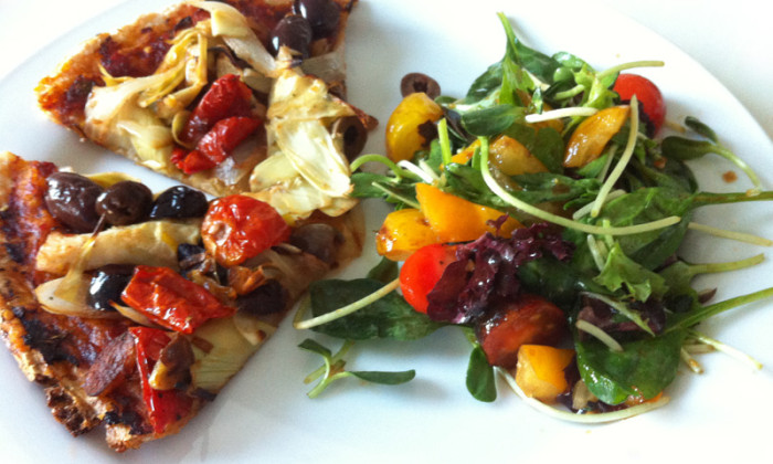 easy gluten free vegan pizza recipe by Judith Longo