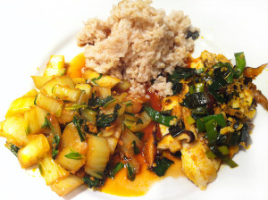 Macrobiotic diet, flounder and bok choi, by Judith Longo
